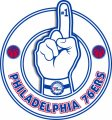 Number One Hand Philadelphia 76ers logo iron on sticker