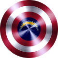 Captain American Shield With Los Angeles Chargers Logo decal sticker