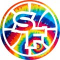 Golden State Warriors rainbow spiral tie-dye logo iron on sticker