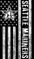 Seattle Mariners Black And White American Flag logo iron on sticker