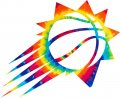 Phoenix Suns rainbow spiral tie-dye logo iron on sticker