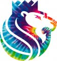 Sacramento Kings rainbow spiral tie-dye logo iron on sticker