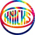 New York Knicks rainbow spiral tie-dye logo iron on sticker