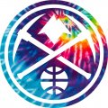 Denver Nuggets rainbow spiral tie-dye logo iron on sticker