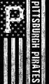 Pittsburgh Pirates Black And White American Flag logo iron on sticker