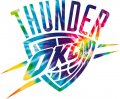 Oklahoma City Thunder rainbow spiral tie-dye logo iron on sticker