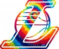 Los Angeles Lakers rainbow spiral tie-dye logo iron on sticker