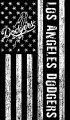 Los Angeles Dodgers Black And White American Flag logo iron on sticker