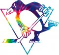 Pittsburgh Penguins rainbow spiral tie-dye logo decal sticker