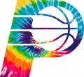 Indiana Pacers rainbow spiral tie-dye logo iron on sticker